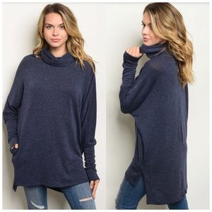 Blue turtleneck tunic sweater S, M, L NWT 🇺🇸